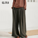 Casual pants Army green XS,S,M,L,XL Spring of 2019 trousers Wide leg pants Natural waist original routine 25-29 years old 51% (inclusive) - 70% (inclusive) Other / other hemp hemp