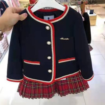 suit Other / other Navy (one size smaller) 100cm,110cm,120cm,130cm,145cm,155cm female spring and autumn Korean version Long sleeve + pants 2 pieces nothing lattice cotton Cotton 100% 9 months, 18 months, 2 years old, 3 years old, 4 years old, 5 years old, 6 years old, 7 years old, 8 years old