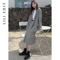 Fashion suit Spring 2021 Skirt s, Skirt M, skirt L, top (regardless of size) Black, brown LILI EDIT Ch6138-6115 Plaid suit 31% (inclusive) - 50% (inclusive) polyester fiber