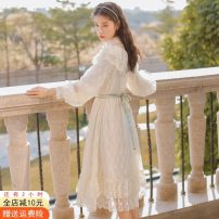 Dress Spring 2021 Light Apricot for breast S,M,L Mid length dress singleton  Long sleeves commute other High waist Solid color Socket A-line skirt Petal sleeve Others 18-24 years old Type A Other / other Korean version Lace 2507B 51% (inclusive) - 70% (inclusive) other cotton
