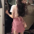 skirt Summer 2020 S,M,L,XL Pink T-shirt, pink trouser skirt Short skirt commute High waist skirt lattice Type A 18-24 years old 51% (inclusive) - 70% (inclusive) other cotton Korean version