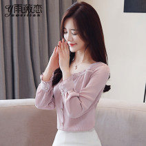 Lace / Chiffon Autumn of 2019 White, pink, black [skirt] S,M,L,XL,2XL Long sleeves commute Cardigan singleton  easy Regular V-neck Solid color routine Ruffles, folds, stitching, buttons, 3D, lace Korean version