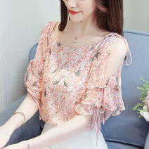 Lace / Chiffon Summer 2020 Pink, black [skirt] S,M,L,XL,2XL Short sleeve commute Socket singleton  easy Regular Crew neck Decor routine Ruffles, hollowed out, pleated, pleated, Gouhua, hollowed out, lace up, printing, splicing, three-dimensional decoration Korean version