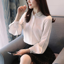 T-shirt Black, white, black [skirt] S,M,L,XL,2XL Spring of 2018 Long sleeves stand collar easy Regular puff sleeve commute cotton 96% and above 25-29 years old Korean version youth Solid color Splicing