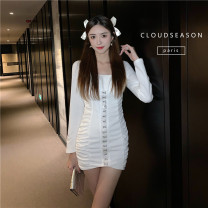 Dress Winter 2020 Black, white S,M,L Short skirt singleton  Long sleeves commute square neck High waist Solid color Socket One pace skirt routine 25-29 years old Type A Cloud Season Button brocade polyester fiber