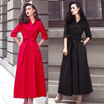 Dress Spring 2021 Red, black S,M,L,XL,2XL longuette singleton  Long sleeves commute Polo collar High waist Solid color Single breasted Big swing shirt sleeve 25-29 years old Ol style More than 95% brocade polyester fiber