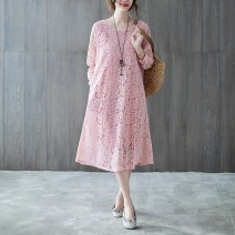 Women's large Spring 2021 Dress singleton  commute easy moderate Socket Long sleeves Solid color literature Crew neck Medium length Polyester, acrylic Three dimensional cutting routine 30-34 years old Three dimensional decoration 51% (inclusive) - 70% (inclusive) Medium length other Hollowing out