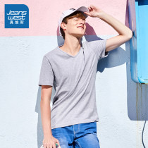 T-shirt Youth fashion Light grey 2080 routine 165/84A/XS JeansWest 60-173002 Cotton 100% other Summer of 2018 Same model in shopping mall (sold online and offline) JeansWest / JeansWest 60-17