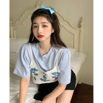 T-shirt Average size Summer 2021 Short sleeve Crew neck Straight cylinder Regular routine commute polyester fiber 86% (inclusive) -95% (inclusive) 18-24 years old Korean version youth Solid color