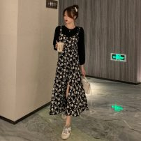 Dress Spring 2021 White, black S, M longuette Fake two pieces Long sleeves commute Crew neck High waist Broken flowers Socket A-line skirt routine 18-24 years old Type A Korean version printing