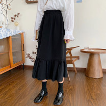 skirt Spring 2021 Average size black Mid length dress commute High waist Splicing style Solid color Type A 18-24 years old 91% (inclusive) - 95% (inclusive) polyester fiber Korean version