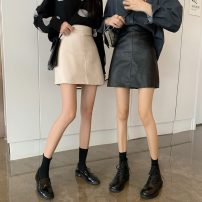 skirt Summer 2021 S,M,L,XL Apricot, blue, black Short skirt commute High waist A-line skirt Solid color Type A 18-24 years old More than 95% Viscose Korean version
