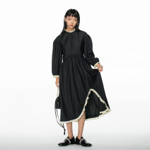 Dress Spring 2021 Black, beige S, M Mid length dress singleton  Long sleeves Sweet Crew neck High waist stripe Socket Irregular skirt puff sleeve Others 18-24 years old Type A Studio1till8 Ruffles, asymmetric More than 95% polyester fiber solar system