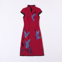 cheongsam Winter 2014 S M L XL Dahong / Kese / Hulan 218 Short sleeve Short cheongsam ethnic style Low slit Animal design Over 35 years old B140121 Rabbit warm / Raven other Rabbit hair 100%