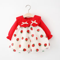 Dress Pink, red female Other / other 73cm,80cm,90cm,100cm Cotton 90% other 10% spring and autumn princess Long sleeves bow Netting Princess Dress Class A 12 months, 6 months, 9 months, 18 months, 2 years, 3 years, 4 years