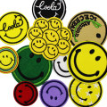 Cloth stickers Purple smiley face red smiley face yellow English smiley face black English smiley face chain smiley face green smiley face brown English smiley face yellow English star white smiley face set (10 pieces) Others