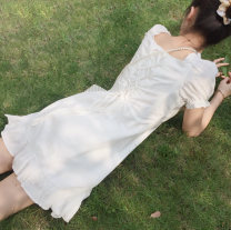 Dress Summer 2021 Baby white Average size Short skirt singleton  Short sleeve Sweet V-neck Loose waist Solid color Socket A-line skirt puff sleeve Others 18-24 years old Type A Bow, ruffle, open back, Auricularia auricula, lace, bandage, wave, zipper 81% (inclusive) - 90% (inclusive) brocade cotton