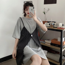 T-shirt Light gray white M L XL Spring 2021 Short sleeve Crew neck Two piece set Medium length routine commute polyester fiber 51% (inclusive) - 70% (inclusive) 18-24 years old Korean version youth Solid color Wanyan Polyester 65% Cotton 30% polyurethane elastic fiber (spandex) 5%