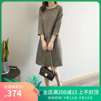 Dress Spring 2021 Main graph color S,M,L Mid length dress singleton  three quarter sleeve commute Crew neck Others Type H Korean version other