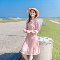 Dress Spring 2021 XS,S,M,L Mid length dress singleton  Long sleeves commute Crew neck High waist Solid color Single breasted Pleated skirt shirt sleeve Others 25-29 years old Type X Korean version More than 95% Chiffon other