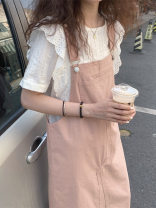 Fashion suit Summer 2021 S M L XL White shirt with pink suspender skirt 18-25 years old Love orchid 96% and above Other 100% Pure e-commerce (online only)