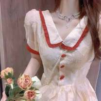 Dress Summer 2021 Picture color S M L XL longuette singleton  Long sleeves commute V-neck middle-waisted Solid color other routine Others 18-24 years old Love orchid Korean version Lace stitching B310567 More than 95% other Other 100% Pure e-commerce (online only)
