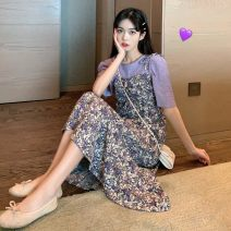 Dress Summer 2021 Red drawstring Dress Purple drawstring Dress Purple suit red suit apricot top purple top S M L XL Mid length dress Two piece set Sleeveless commute Crew neck middle-waisted Broken flowers Socket A-line skirt routine camisole 18-24 years old Love orchid Korean version More than 95%