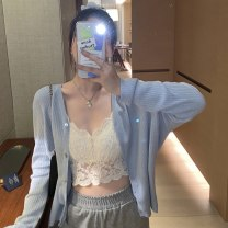 Wool knitwear Summer 2021 S M L XL White water blue Long sleeves singleton  Cardigan other More than 95% Regular routine commute easy V-neck routine Solid color Single breasted Korean version B659361 25-29 years old Love orchid Button Other 100% Pure e-commerce (online only)