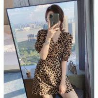 Dress Summer 2021 Brown Leopard Dress Black Leopard Dress S M L XL Short skirt singleton  Short sleeve commute V-neck High waist Leopard Print Socket A-line skirt routine Others 18-24 years old Love orchid Korean version printing dgvs54 More than 95% Chiffon other Other 100%