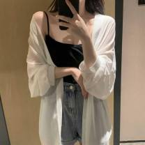 short coat Summer 2021 S M L XL white Long sleeves Medium length Thin money singleton  easy Original design puff sleeve stand collar Solid color 30-34 years old Love orchid 96% and above other Other 100% Pure e-commerce (online only)