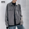 Jacket Jiong clothing Club Youth fashion Black grey green 4XL 5XL M L XL 2XL 3XL routine easy Other leisure autumn YY29 Other polyester 95% 5% Long sleeves Wear out square neck tide youth routine Single breasted Cloth hem No iron treatment Closing sleeve Solid color Autumn 2020 More than two bags)