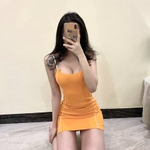 Dress Spring 2021 Black, orange Average size Short skirt singleton  Sleeveless commute Crew neck middle-waisted Solid color Socket Pencil skirt other Others 18-24 years old Type H Bleeding color flowing yarn Stitching, bowknot, lace up LR8016B16 More than 95% other polyester fiber