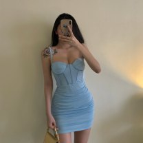 Dress Autumn 2020 Black, off white, purple, light blue S,M,L Short skirt singleton  Sleeveless other Solid color other routine Others knitting