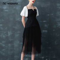 Dress Summer 2020 black UK4/XS,UK6/S,UK8/M,UK10/L Mid length dress singleton  Short sleeve commute square neck High waist other A-line skirt Others 25-29 years old Type A Retro Splicing, mesh D19961 31% (inclusive) - 50% (inclusive)