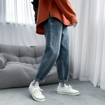 Jeans Youth fashion Others S. M, l, XL, 2XL, XS plus small Blue, black and gray routine No bullet Regular denim trousers Other leisure Four seasons teenagers Medium low back Fitting straight tube like a breath of fresh air 2020 Little straight foot zipper cotton