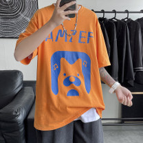 T-shirt other Black, white, orange routine S. M, l, XL, 2XL, XS plus small Others Short sleeve Crew neck easy daily summer Cotton 100% teenagers Off shoulder sleeve tide 2021 Geometric pattern printing cotton Creative interest No iron treatment Non brand More than 95%
