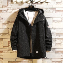 Jacket Other / other Youth fashion Black, grey, navy M. L, s, XL, 2XL, 3XL, XS plus small, 4XL, 5XL routine easy Other leisure autumn Long sleeves Wear out Hood tide youth routine Zipper placket 2021 Cloth hem No iron treatment Closing sleeve Geometric pattern polyester fiber Zipper decoration