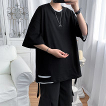 T-shirt Youth fashion White, gray, black, blue routine S. M, l, XL, 2XL, XS plus small Others elbow sleeve Crew neck easy Other leisure summer teenagers tide 2021 Solid color cotton No iron treatment