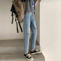 Jeans Youth fashion Others 27,28,29,30,31,32,33,34,26 plus small blue routine Micro bomb Cotton elastic denim trousers Travel? Four seasons teenagers middle-waisted Slim feet Youthful vigor 2020 Little straight foot zipper Water wash, enzyme wash