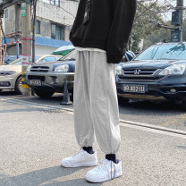 Casual pants Others Youth fashion Gray, black S. M, l, XL, 2XL, 3XL, 4XL, 5XL, XS plus small routine Ninth pants Other leisure easy Micro bomb Four seasons teenagers Hip hop 2021 middle-waisted Straight cylinder Sports pants Pocket decoration Solid color other other Non brand