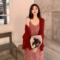 Dress Autumn 2020 Red dress + suspender skirt S M L XL Mid length dress Two piece set Long sleeves commute Crew neck High waist Broken flowers Socket A-line skirt routine Others 18-24 years old Shaxu Korean version 71% (inclusive) - 80% (inclusive) other polyester fiber Polyester 80% other 20%