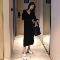 Dress Autumn 2020 Graphic skirt S M L XL Mid length dress singleton  Long sleeves commute V-neck Loose waist Solid color Socket A-line skirt routine Others 18-24 years old Shaxu Korean version 71% (inclusive) - 80% (inclusive) other polyester fiber Polyester 80% other 20%