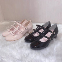 Low top shoes Other / other Black, pink Round head synthetic leather Thick heel High heel (5-8cm) Shallow mouth PU Summer 2021 Single shoes