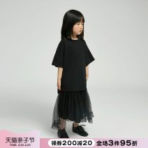 T-shirt Black and white NNGZ 110cm 120cm 130cm 140cm 150cm 160cm 170cm female summer Short sleeve Crew neck leisure time There are models in the real shooting nothing cotton Solid color Cotton 100% Class B Summer 2021 Chinese Mainland Zhejiang Province Hangzhou