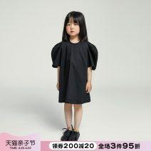 Dress black female NNGZ 110cm 120cm 130cm 140cm 150cm 160cm 170cm Cotton 100% summer Korean version Short sleeve Solid color cotton A-line skirt BC212Q901 Class B Summer 2021 Chinese Mainland Zhejiang Province Hangzhou