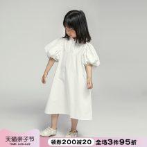 Dress white female NNGZ 110cm 120cm 130cm 140cm 150cm Cotton 100% summer Korean version Short sleeve Solid color cotton A-line skirt 212Q908 Class B Summer 2021 Chinese Mainland Zhejiang Province Hangzhou