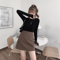 skirt Autumn 2020 XS,S,M,L,XL Black, dark brown Short skirt Versatile High waist A-line skirt Solid color Type A 25-29 years old 71% (inclusive) - 80% (inclusive) polyester fiber Pleats, zippers