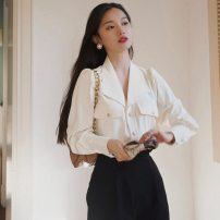 shirt Off white S M L XL Spring 2021 polyester fiber 71% (inclusive) - 80% (inclusive) Long sleeves commute Regular Polo collar Single row multi button routine Solid color 18-24 years old Straight cylinder Cabinet school Korean version Polyester 80% other 20% Pure e-commerce (online only)