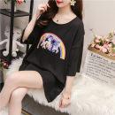Women's large Summer 2020, spring 2020 Black, white, light grey M [80-115kg], l [116-135kg], XL [136-165kg], XXL [166-200kg], 3XL [201-230kg], 4XL [231-260kg], 5XL [261-300kg] T-shirt singleton  commute easy moderate Socket Short sleeve Korean version Crew neck Medium length routine other