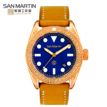 Wristwatch San Martin National joint guarantee Mechanical movement - automatic mechanical movement male genuine leather domestic 50ATM Metal Synthetic sapphire watch mirror twelve point five 41mm 061-B circular Retro Pointer type brand new Pin buckle ordinary Screw in type Reprint Luminous
